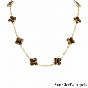Van Cleef & Arpels Yellow Gold Tiger Eye Vintage Alhambra Necklace VCARD40700